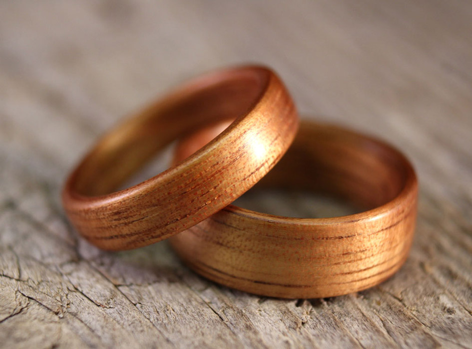 golden koa bentwood rings - Wood Wedding Ring