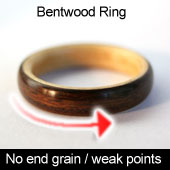 Bentwood rings contain no end grain or weak points.