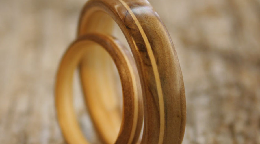 Mountain Ash Wood Wedding Rings
