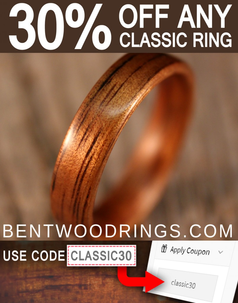 Classic Bentwood RIngs - Thirty Percent Off