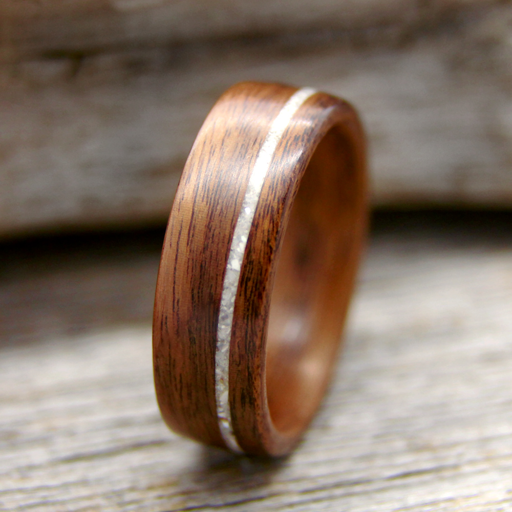 brass pin bentwood ring with wedding center rings koa