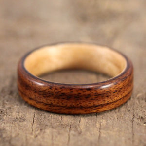 Santos Rosewood Lined With Birch Bentwood Ring