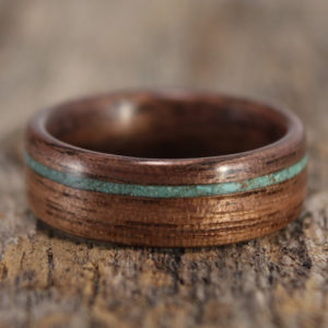 Walnut Bentwood Ring With Offset Turquoise Inlay
