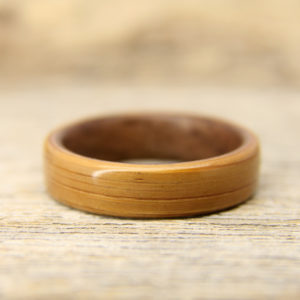 Bamboo Lined With Walnut Bentwood Ring