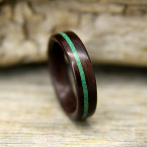 Indian Rosewood Bentwood Ring With Offset Malachite Inlay