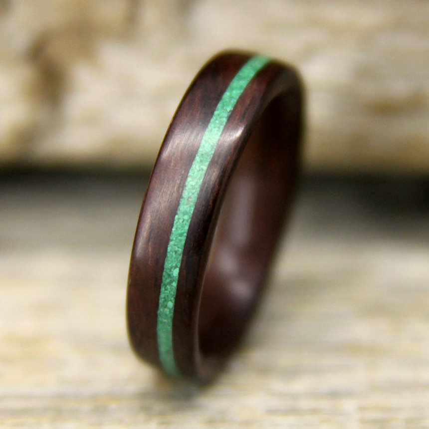 ring of moon warmth wear inlay in the rosewood touch wood tapered turquoise rings img full year wooden review with a
