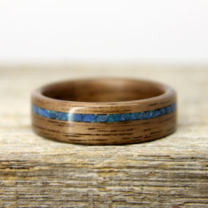 Walnut Bentwood Ring With Offset Lapis Lazuli and Chrysocolla Inlay