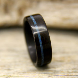 Ziricote Bentwood Ring With Offset Lapis Lazuli Inlay